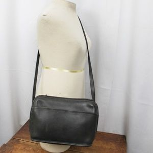 80's Coach USA Made Gray Leather Crossbody Purse